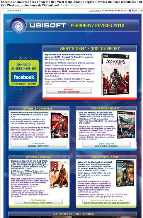 Ubisoft newsletter
